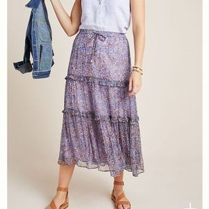 Anthropologie Tiered Midi Skirt